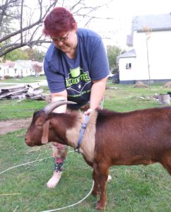 Barb Taylor stands with Cocoa, the pet goat she keeps in her Masury yard