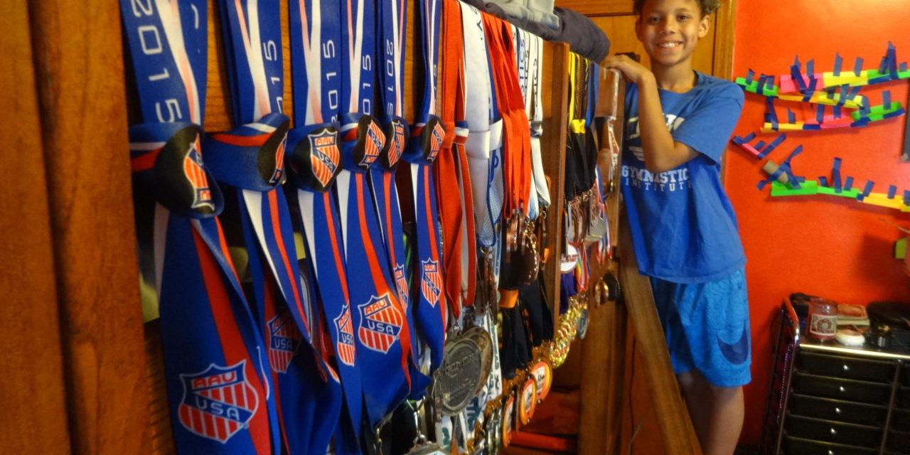 5th-grader flips for gymnastics