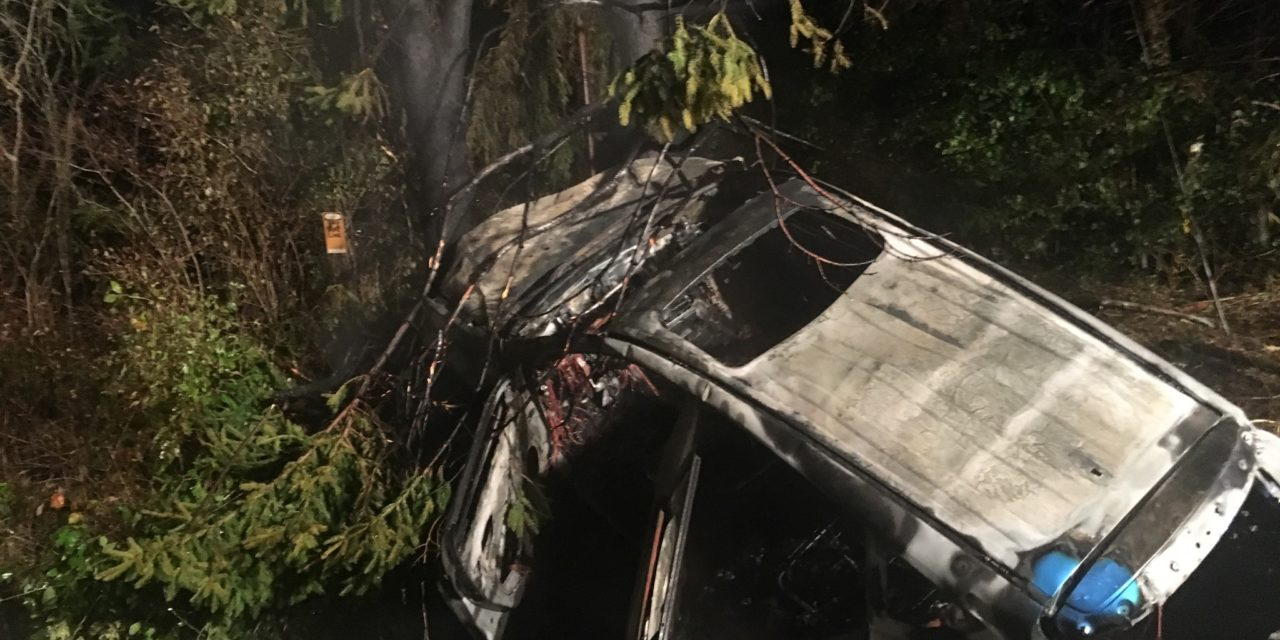 Three taken to hospitals in crash, fire
