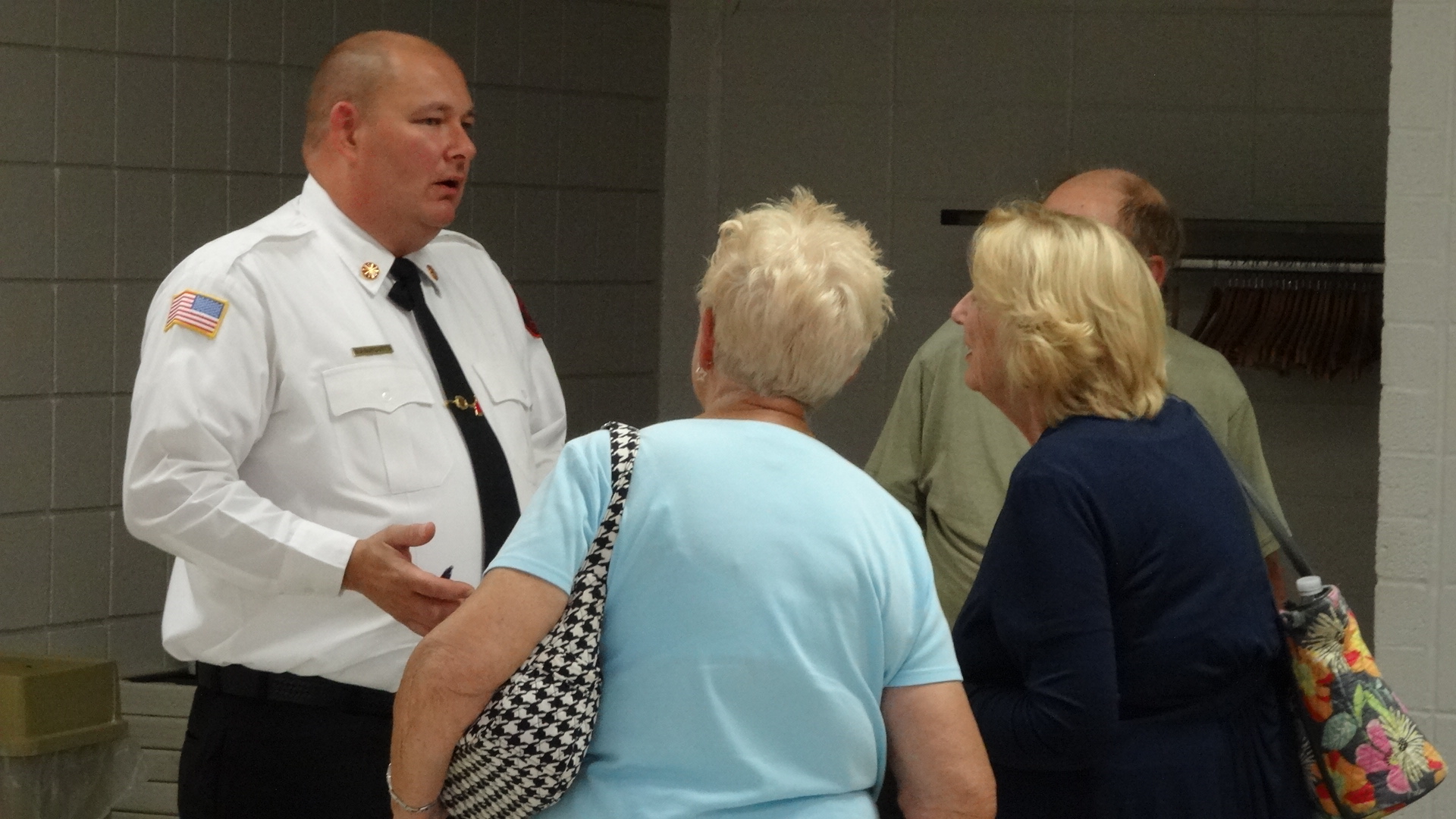 Fire Chief David Masirovits meets with Anna Marie Shargo, center, Ginger Letorneau and Steve Shull at his first Brookfield trustees meeting.