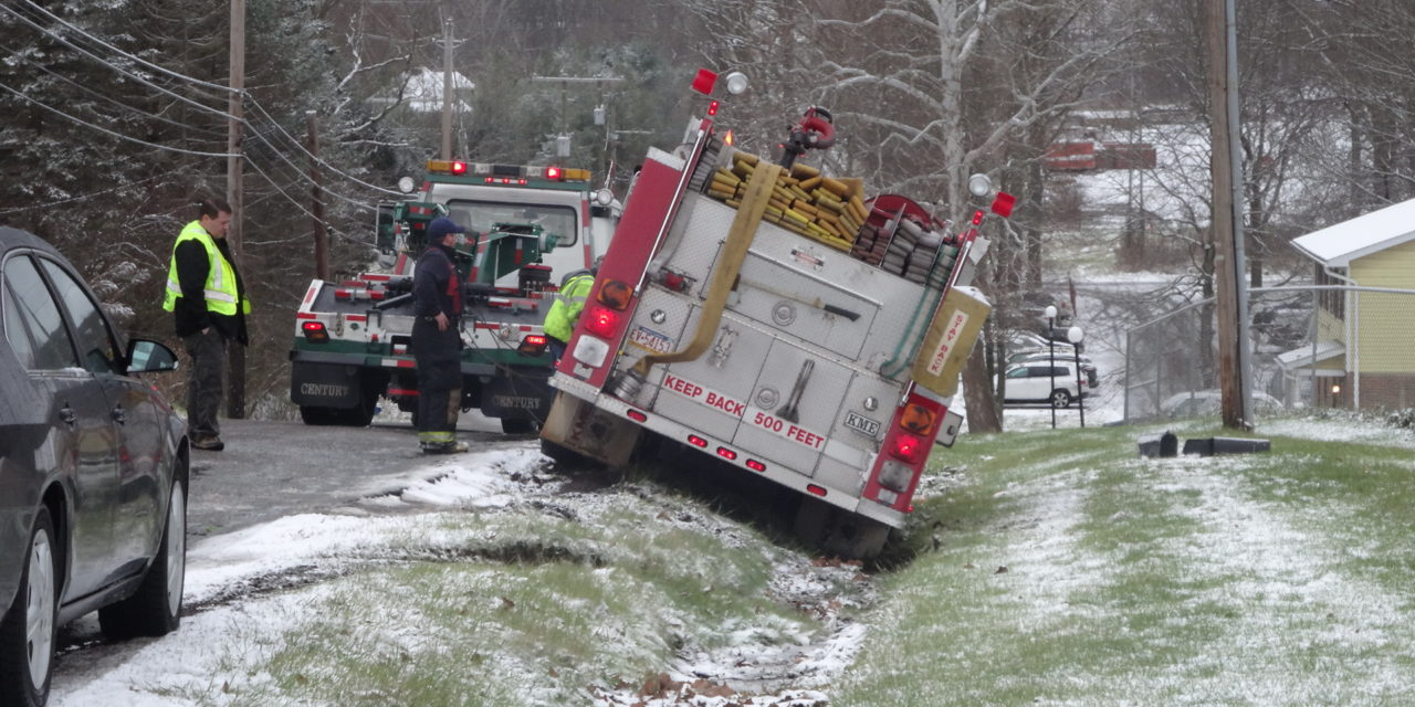 Icy road claims Sharon fire truck