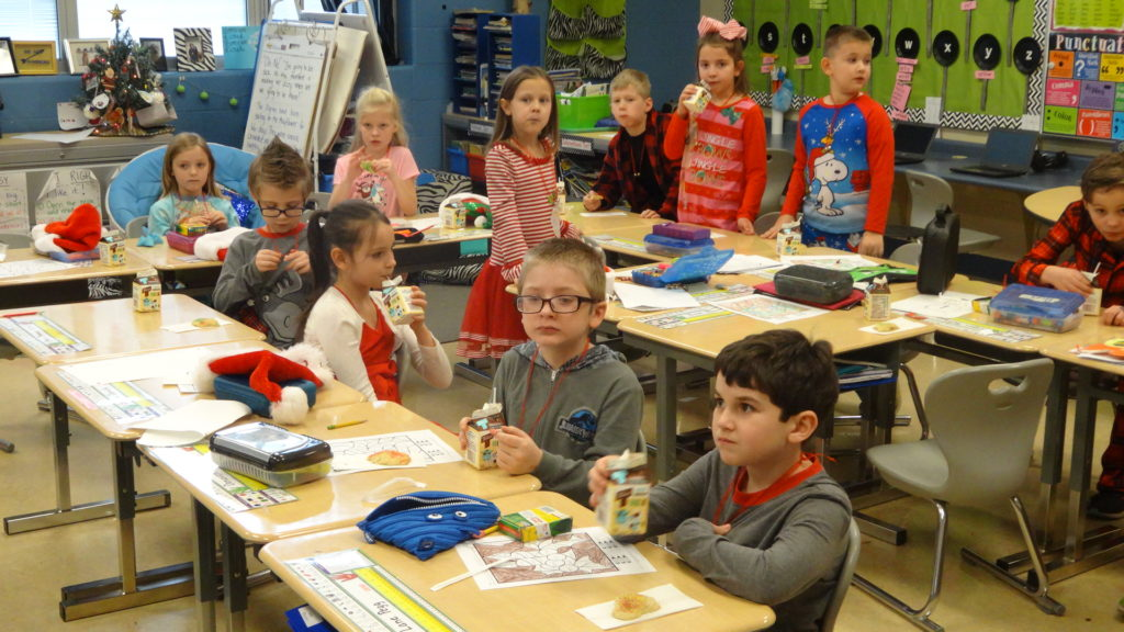 Julie Bencetic's second-grade class at Brookfield Elementary School enjoys treats.