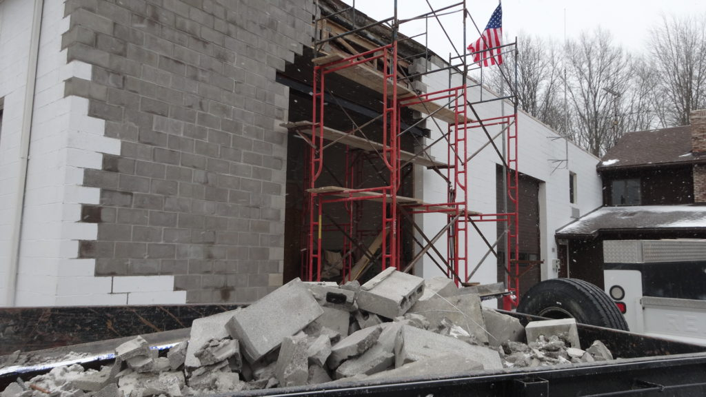 This photo was taken Feb. 13 and shows that work has begun to repair a sagging wall at Brookfield Fire Station 18 on Route 7.