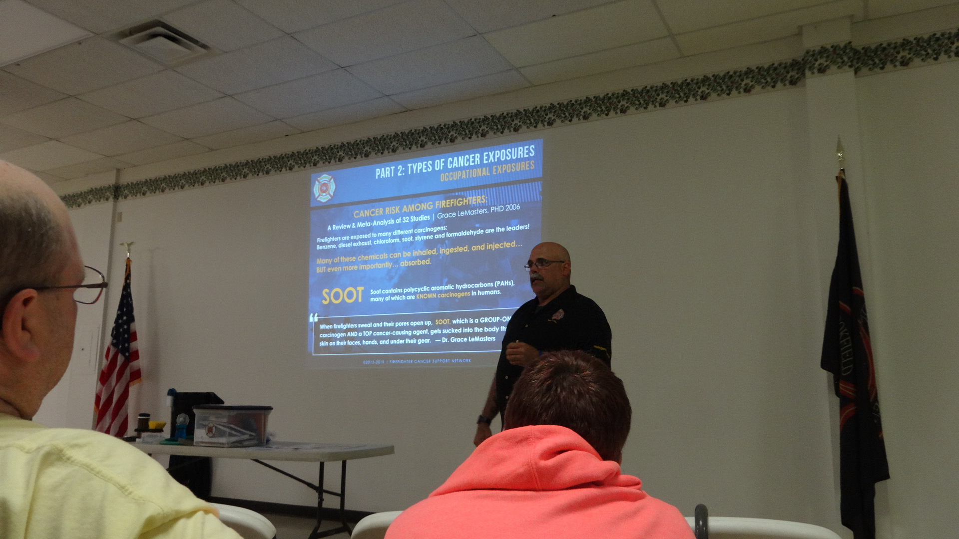 Kevin Weidig of the Firefighter Cancer Support Network tells firefighters that they have to change the way they have done their jobs in order lessen the risk of cancer. He spoke at a May 20 training session in Brookfield.