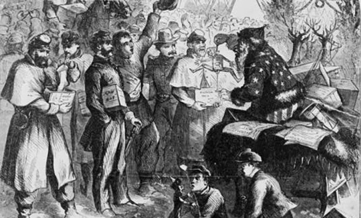 The artist Thomas Nast's depictions of Santa Claus during the 19th century influenced our modern-day understanding of the jolly old elf. However, in this illustration from Harper's Weekly, Nast made Santa a Union propagandist during the Civil War. Santa, decked out in an outfit based on the American flag, entertains Union troops with a wooden puppet of Confederate President Jefferson Davis hanging by a noose.