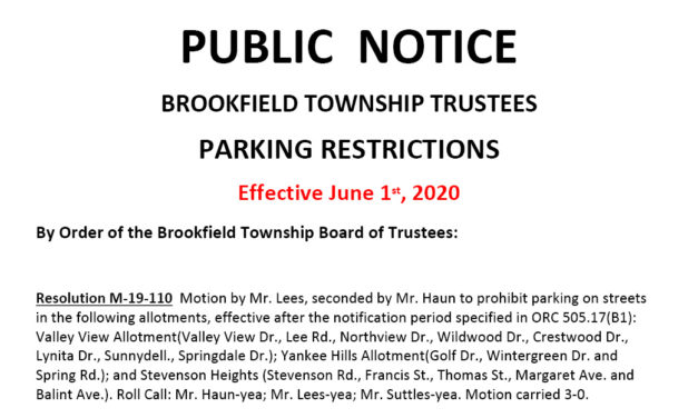 Parking ban to take effect June 1