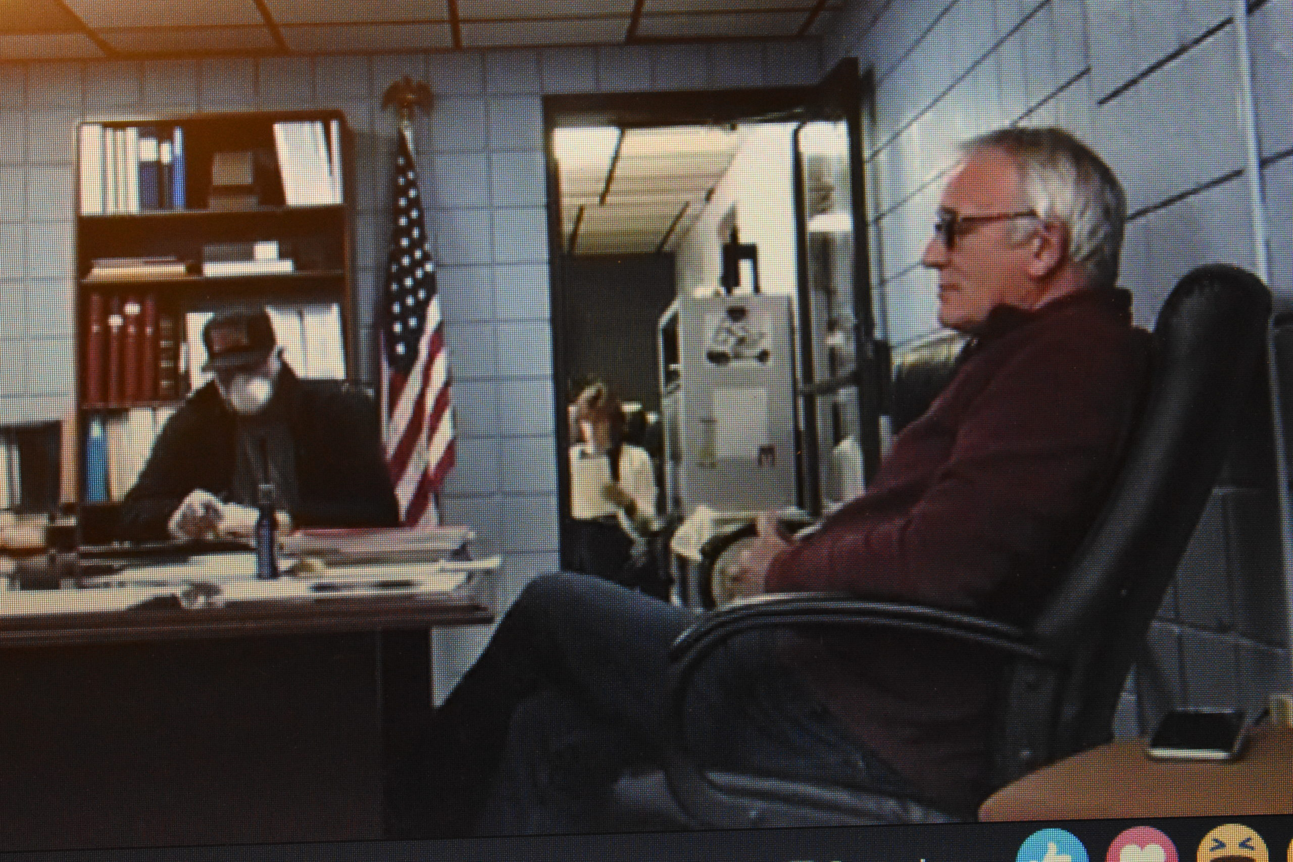 In a photo taken from an April 24 meeting broadcast on Facebook Live, township officials are, from left, Trustee Ron Haun, Fiscal Officer Dena McMullin and Trustee Dan Suttles.