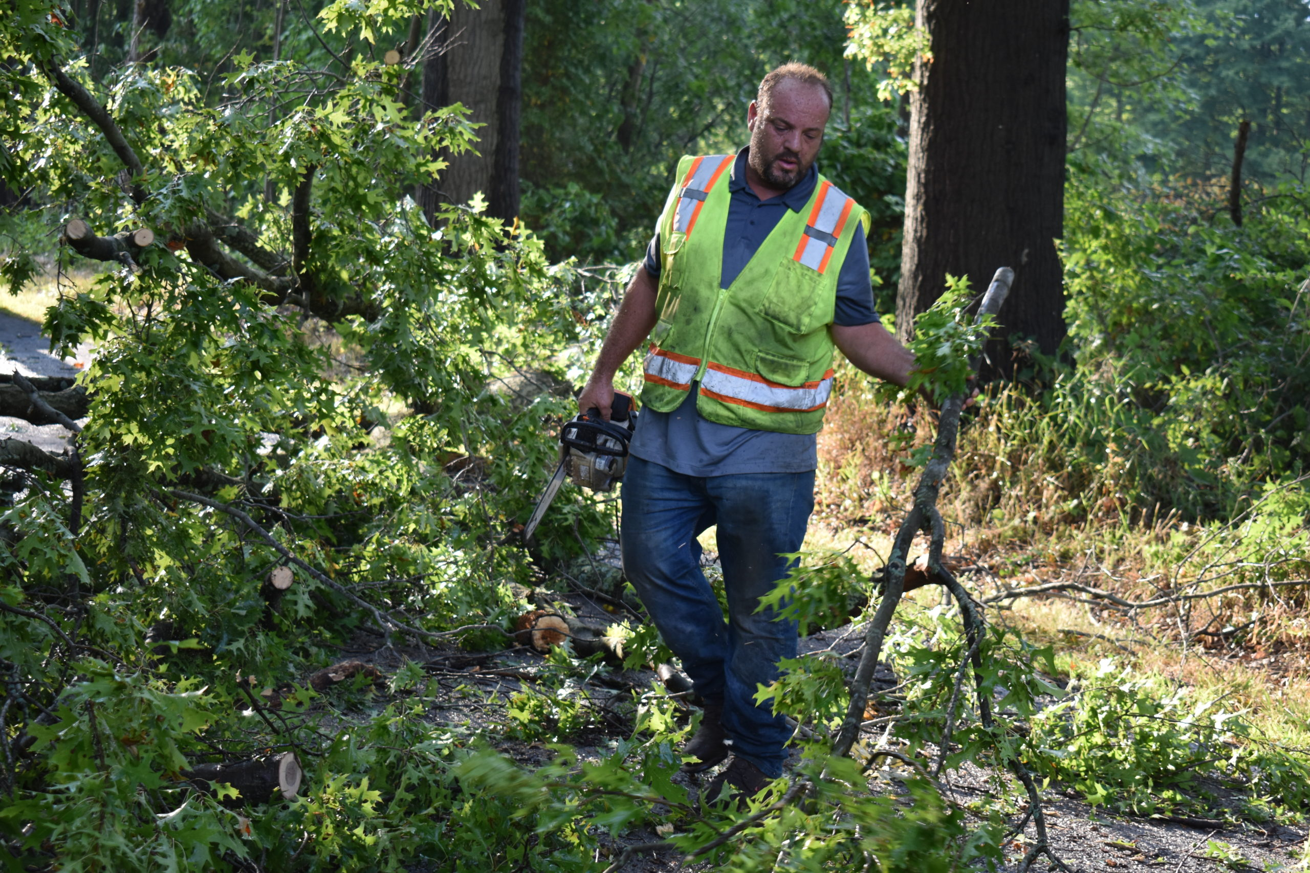 Shawn Davis, a supervisor with the Trumbull County Engineer, clears a tree from Merwin Chase Road.