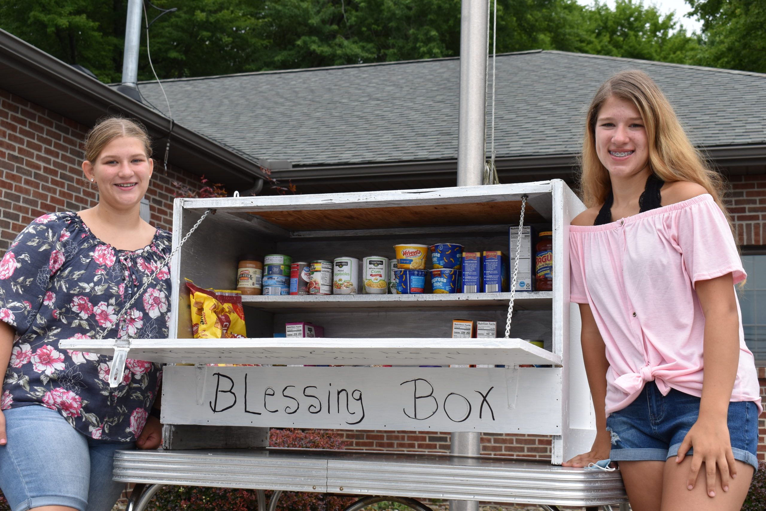 Madelyn Fonagy, left, and her twin sister Makenzie, stand by the Blessing Box containing nonperishable food items that they placed in front of the dental office of their grandfather, Dr. Joseph Fonagy, at 7159 Warren Sharon Road.