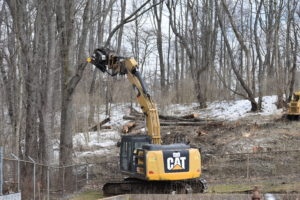 Adler and Sons of Butler, Pa., cut down trees the week of Feb. 22, the first task in the the expansion of the Brookfield Waste Water Treatment Plant in Masury.