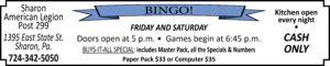 Sharon American Legion Post 299 Bingo