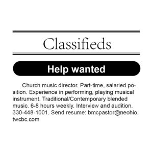 Classified ad: HELP WANTED
