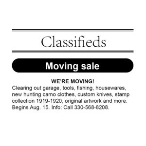 Classified Ad: MOVING SALE
