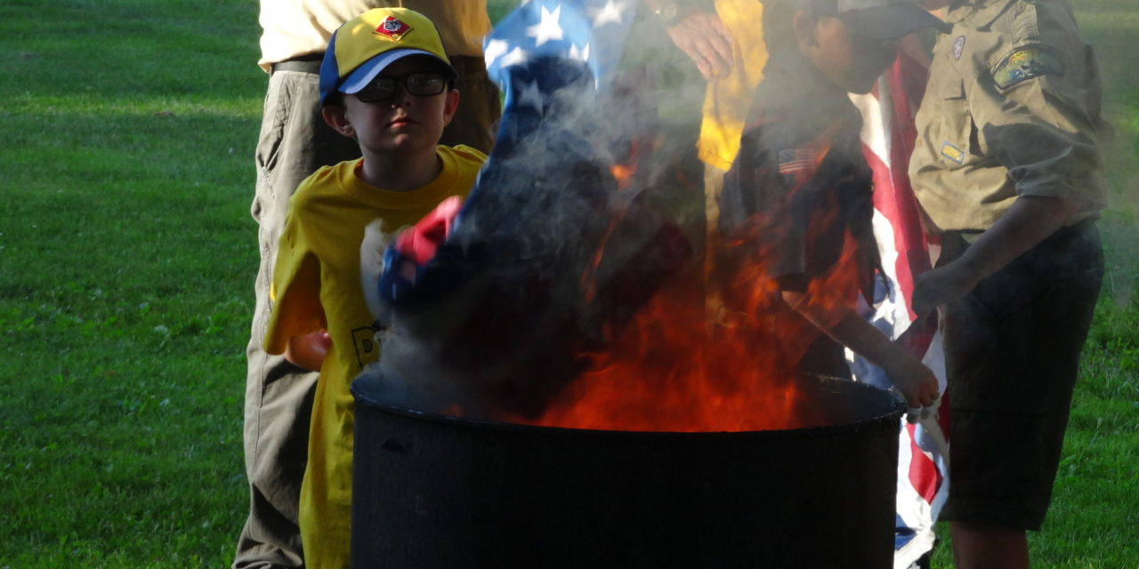 Scouts hold flag-burning ceremony