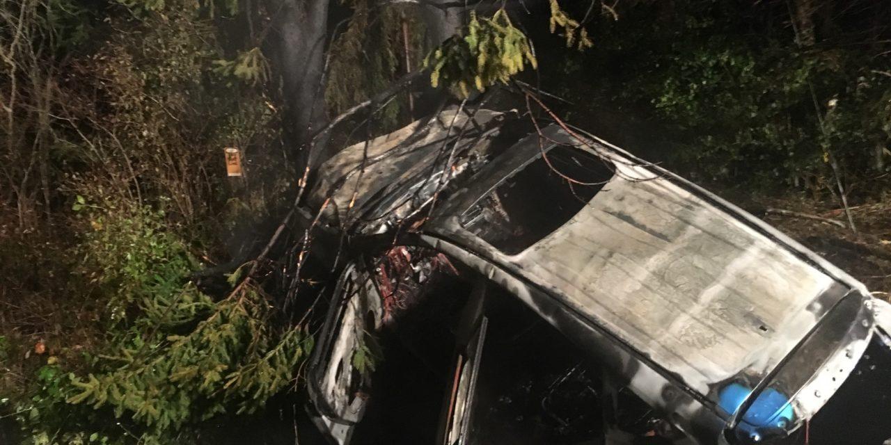 Three taken to hospitals in crash, fire