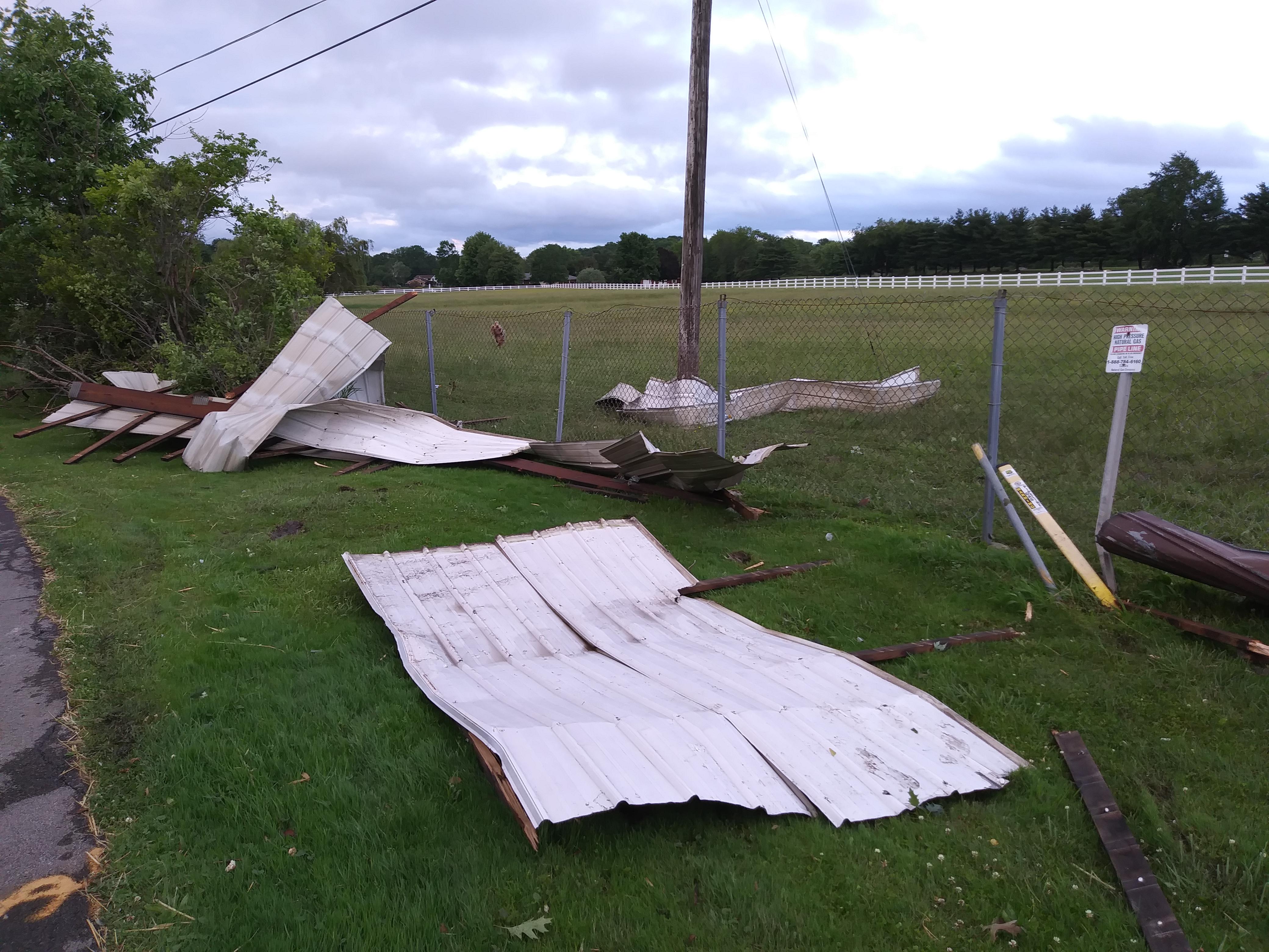 Debris from Kirila Contractors Inc. building.