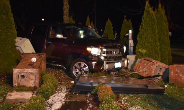 Truck wipes out township sign