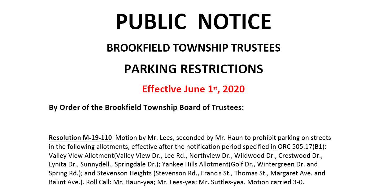 Parking ban to take effect June 1