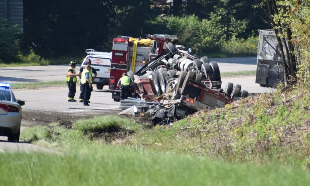 Truck rollover on Route 62